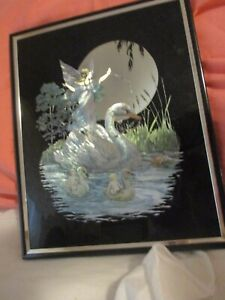 KAFKA Ind. Mythical FAIRIES & SWANS VINTAGE Hand Screened Metal Etching Foil Art