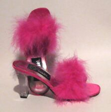 NEW Pleaser Romance 301-F Hot Pink Feathers Satin Slippers Clear Acrylic Heels 6