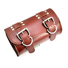 Perfect Brown PU Leather Motorcycle Motorbike Tool Roll Saddle Bag Organiser Box