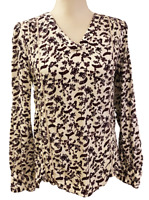 NEW Hinge from Stitch Fix Womens White Black Burgundy Floral Top size M Medium