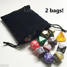 2 Dice Bags BLACK Velour Suedecloth Medium 4 x 4.75 in. Chessex - velvet new