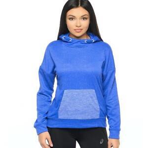 Asics Womens Training Hoodie Ladies Hooded Sweatshirt Blue Purple Speckle Core