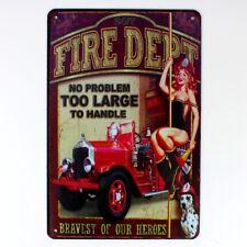 Metal Tin Sign fire dept  sexy lady Decor Bar Pub Home Vintage Retro