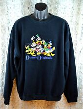 Disney Originals Fleece Sweatshirt Mickey Minnie Mouse Goofy Donald Sz Lg D0002