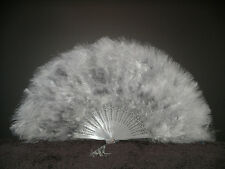 "MARABOU FEATHER FAN - SILVER GREY Feathers 12"" x 20"" Burlesque/Wedding/Costume"