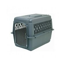 X-Large Dog Crate Kennel Airline Carrier Plastic Cage Wire Door House Pet Gray
