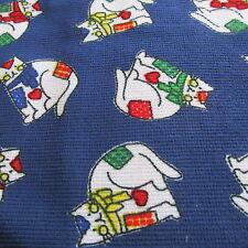 Patchwork Kitty Cat cotton Corduroy fabric Navy Blue Bthy half yard cut