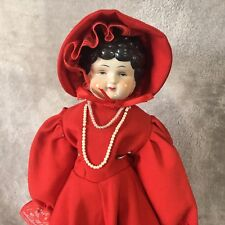 """17 '' China Head Shoulder Doll Black Waves Curls Marked #5, 4"""" Head Height"""