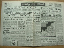 DAILY MAIL WWII NEWSPAPER MAY 10th 1944 BRITISH ARMIES ADVANCE ON TWO FRONTS