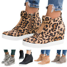 Ladies Leopard High Top Wedge Heel Trainers Comfy Zipper Sneaker Casual Shoes