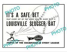 OLD 6x4 HISTORIC ADVERTISING POSTER, LOUISVILLE SLUGGER BASEBALL BATS c1940s