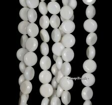 8MM SHELL GEMSTONE WHITE FLAT ROUND CIRCLE COIN 8MM LOOSE BEADS 7.5""