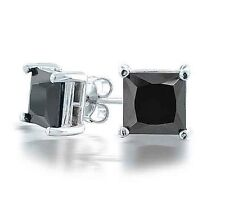 vogue silver plated Black Square Crystal clear crystal CZ Stud Earrings
