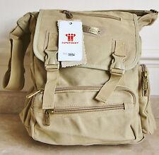 Classic Retro Styled Canvas Messenger Bag - Beige..