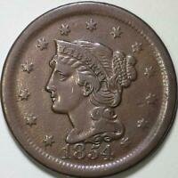 1854  Braided Hair Large Cent - ** VF++ ** N-12, R2 Late Die State
