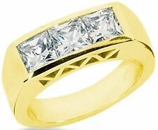 1.51 ct 3 STONE Princess Cut DIAMOND ENGAGEMENT Ring 14k YellowGold WEDDING Band