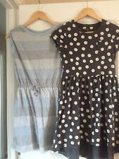Two Girls Dresses Age 11-12 Next Grey Spot And Gap Stripes