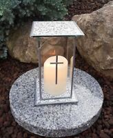 Grablaterne Sockel LED Kerze Grablampe Lampe Grableuchte Grablicht Grabschmuck