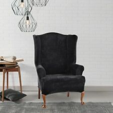 NEW Stretch Plush One Piece Wing Chair Slipcover Black