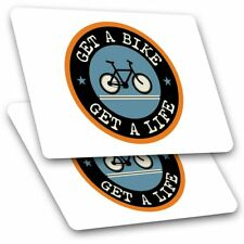 2 x Rectangle Stickers 10 cm - Get A Bike Mountainbike Biker Cycle #5103