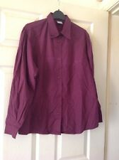 United Colors of Benetton 1980s Vintage Borgoña Blusa Camisa Blanca 14-16 Nuevo