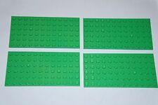 LEGO 4 x GREEN BASE/PLATE/BOARD BRICK 6x12 PIN ID 3028