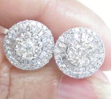Genuine 1.00ct Diamond Cluster Stud Earrings 18K White Gold