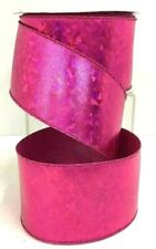 "Metallic Wired Ribbon~Hot Pink, Geo Metric Design ~2 1/2"" W x 10 yd"