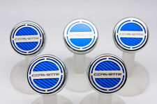 C7 Corvette Automatic 5pc Engine Cap Cover Set - Blue w/ Corvette Name Logo