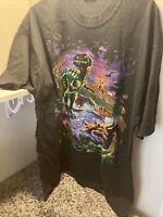 Vintage Liquid Blue Dinosaur T Rex Jurassic T Shirt Mens XL Black DS USA 90's