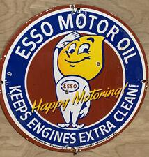 New ListingEsso Happy Motoring Gasoline Gas Oil Pump Porcelain Sign