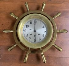 "Chelsea Ship Bell 14"" Ships Wheel Clock Brass 14"""