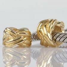 18K GOLD OVER 925 STERLING SILVER FORGET ME KNOT CHARM BEAD EUROPEAN BRACELET
