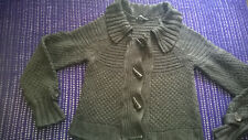 Dark grey knit cardi size 12 toggle fastening collared casual size 8