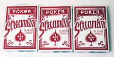 3 Decks of Red Streamline Poker Playing Cards - Brand New, Sealed FAST SHIP