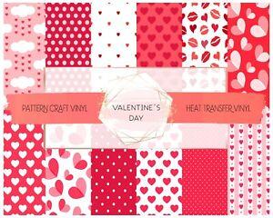 Pink Hearts Pattern HTV Siser & Adhesive Craft Vinyl Oracal FREE SHIPPING $20+