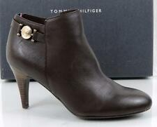 Women's Tommy Hilfiger VELESIA Ankle Boots Booties Leather Dark Brown Size 8