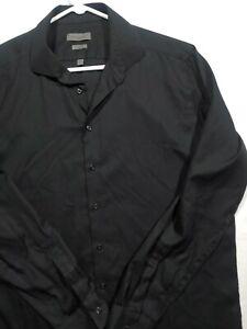 Calvin Klein Men's Slim Herringbone Black Button Shirt xlt 17.5 Extra Large tall