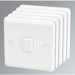 1-Gang 1-Way 10AX Light Switch White Pack of 5 Round Edge