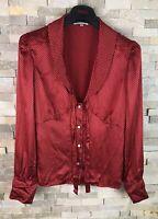 Laura Ashley Ladies Size 12 Silk Long Sleeve Red Polka Dot Top Blouse