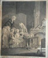 P. Ch. CANOT (1710-1777) GRANDE GRAVURE XVII° SCENE FAMILLE ENFANT LOUIS XV