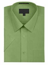 Para Hombres Color sólido Regular Fit Button prima de Manga Corta Camisa De Vestir