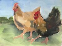 Original Realism Chickens Country Life Green Russian Oil Canvas Painting Signed