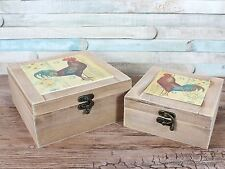Set of 2 Cockerel Trinket Boxes Memory Keepsake Storage