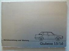 ALFA ROMEO GIULIETTA 1.3/1.6 - Manuale di Istruzioni con Schema elettrico, 3.1978, 56 pag.