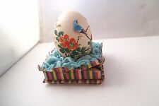 Vintage Made in China Painted Easter Egg on Paper Stand