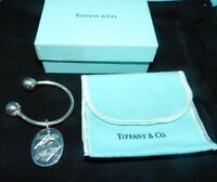 TIFFANY & CO SIGNED Sterling SILVER KEY Chain Ring W/ DR PEPPER / MINYARD CHARM