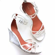 Via Spiga White Leather Open Toe Clear 90s Style Wedge Heeled Shoes-Size 9