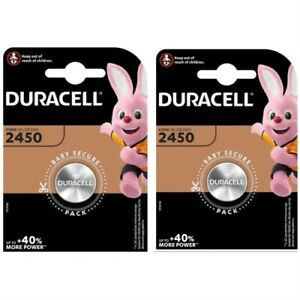 2 x Duracell CR2450 3V Lithium Coin Cell Batteries DL2450 - Expiry 2029