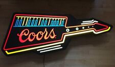 COORS BEER SIGN LIGHTED GUITAR BAR SIGN. 1990 - WORKING ORDER! COOL!